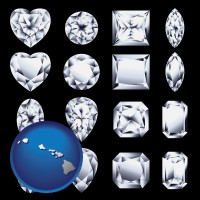 hawaii map icon and sixteen diamonds, showing various diamond cuts