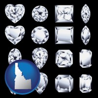 idaho map icon and sixteen diamonds, showing various diamond cuts