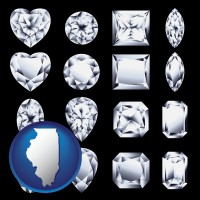 illinois map icon and sixteen diamonds, showing various diamond cuts