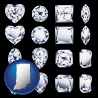 indiana map icon and sixteen diamonds, showing various diamond cuts