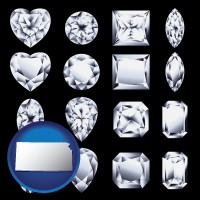 kansas map icon and sixteen diamonds, showing various diamond cuts