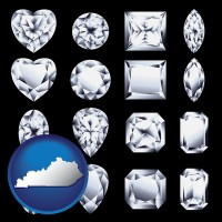 kentucky map icon and sixteen diamonds, showing various diamond cuts