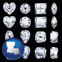 louisiana map icon and sixteen diamonds, showing various diamond cuts