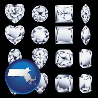 massachusetts sixteen diamonds, showing various diamond cuts