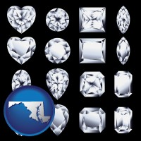 maryland map icon and sixteen diamonds, showing various diamond cuts
