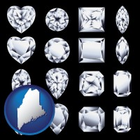 maine map icon and sixteen diamonds, showing various diamond cuts