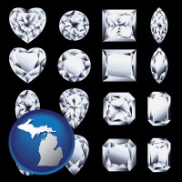 michigan map icon and sixteen diamonds, showing various diamond cuts