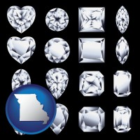 missouri map icon and sixteen diamonds, showing various diamond cuts
