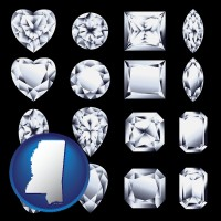 mississippi map icon and sixteen diamonds, showing various diamond cuts