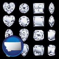 montana map icon and sixteen diamonds, showing various diamond cuts