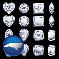 north-carolina map icon and sixteen diamonds, showing various diamond cuts