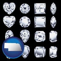 nebraska sixteen diamonds, showing various diamond cuts