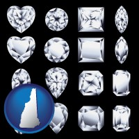 new-hampshire map icon and sixteen diamonds, showing various diamond cuts