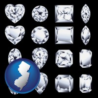 new-jersey map icon and sixteen diamonds, showing various diamond cuts
