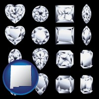 new-mexico sixteen diamonds, showing various diamond cuts