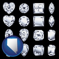 nevada sixteen diamonds, showing various diamond cuts
