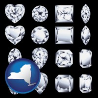 new-york map icon and sixteen diamonds, showing various diamond cuts