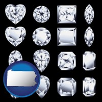 pennsylvania sixteen diamonds, showing various diamond cuts