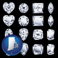 rhode-island map icon and sixteen diamonds, showing various diamond cuts