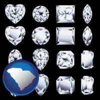 south-carolina map icon and sixteen diamonds, showing various diamond cuts