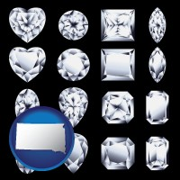 south-dakota sixteen diamonds, showing various diamond cuts