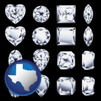 texas map icon and sixteen diamonds, showing various diamond cuts