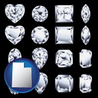 utah map icon and sixteen diamonds, showing various diamond cuts