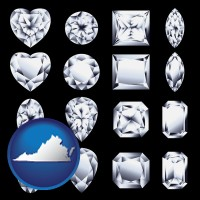 virginia sixteen diamonds, showing various diamond cuts