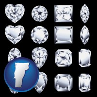 vermont sixteen diamonds, showing various diamond cuts