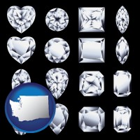 washington map icon and sixteen diamonds, showing various diamond cuts