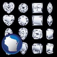 wisconsin map icon and sixteen diamonds, showing various diamond cuts