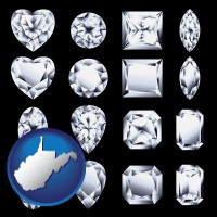 west-virginia map icon and sixteen diamonds, showing various diamond cuts