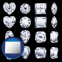 wyoming map icon and sixteen diamonds, showing various diamond cuts