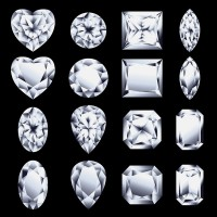 sixteen diamonds, showing various diamond cuts