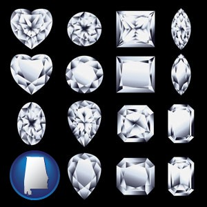 sixteen diamonds, showing various diamond cuts - with Alabama icon