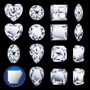 sixteen diamonds, showing various diamond cuts - with Arkansas icon