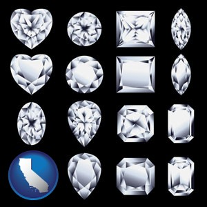 sixteen diamonds, showing various diamond cuts - with California icon