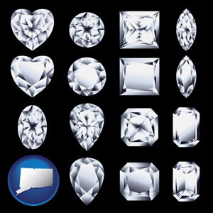 sixteen diamonds, showing various diamond cuts - with Connecticut icon