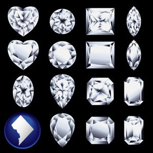 sixteen diamonds, showing various diamond cuts - with Washington, DC icon
