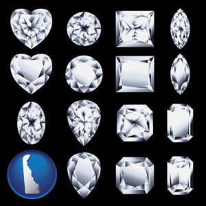 sixteen diamonds, showing various diamond cuts - with Delaware icon