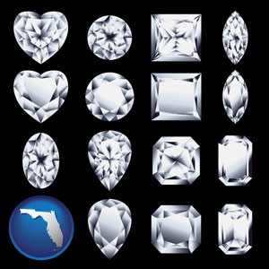 sixteen diamonds, showing various diamond cuts - with Florida icon