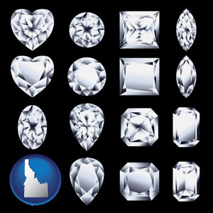 sixteen diamonds, showing various diamond cuts - with Idaho icon