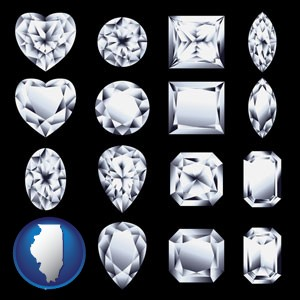 sixteen diamonds, showing various diamond cuts - with Illinois icon