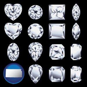 sixteen diamonds, showing various diamond cuts - with Kansas icon