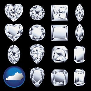 sixteen diamonds, showing various diamond cuts - with Kentucky icon