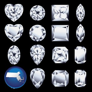sixteen diamonds, showing various diamond cuts - with Massachusetts icon