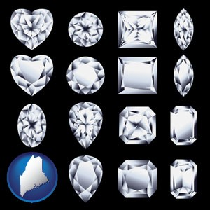 sixteen diamonds, showing various diamond cuts - with Maine icon