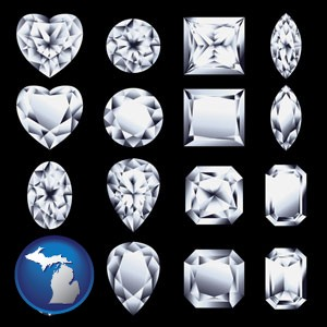 sixteen diamonds, showing various diamond cuts - with Michigan icon