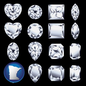sixteen diamonds, showing various diamond cuts - with Minnesota icon