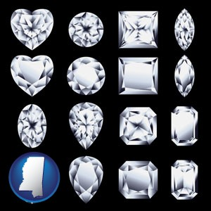 sixteen diamonds, showing various diamond cuts - with Mississippi icon